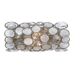 Crystorama - Crystorama Palla Wall Sconce in Antique Silver - Shown in picture: Wall sconce - can be mounted vertical or horizontal. Antique Silver finish pared with Clear crystal and Capiz shell accents.; Part of the Dorian Webb For Crystorama series - the Palla Collection showcases Dorian�s whimsical designs and attention to color detail. This Antique Silver handpainted Wrought Iron collection features beautiful neutral Capiz Shell lenses. The warm white and soft gray elements of the Capiz Shell lenses pair nicely with the clear hand polished crystal accents. This collection is perfect for today�s contemporary spaces or yesterday�s retro glamour.