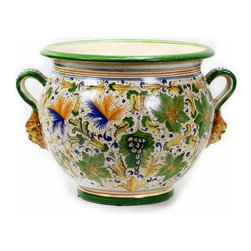 Artistica - Hand Made in Italy - MAJOLICA CAFFAGIOLO: Large cachepot with two handles - CAFFAGIOLO Collection: The Caffagiolo pattern depicted in this item is a true Italian classic and certainly the most popular pattern from the Italian town of Deruta.