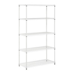 Honey Can Do - 5-Tier Urban Storage Shelving Unit in White - Create visible and accessible storage space instantly. Perfect blend of style and functionality. Durable. Withstanding up to 800 lbs. per shelf. Adjustable shelves and stackable components. Lifetime limited warranty. Made from steel. White powder coat finish. Assembly required. 36 in. L x 14 in. W x 72 in. H (27.60 lbs.)Combine multiple units to create a customized storage wall. The no-tool assembly allows you to construct in minutes a shelving unit that will last for years.