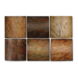Grace Feyock - Grace Feyock 13355 Klum Collage Wall Art - This artwork is made of wood and may be hung in any order. The finish consists of tones of red, yellow, aged green, rust brown and gray over black undertones.