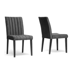 """Wholesale Interiors - Stripp Black Microfiber Modern Dining Chairs, Set of 2 - Casual elegance is what our Stripp Modern Dining Chair is all about. You will love the dark gray ribbed microfiber seat, which is padded with foam and is both stain resistant and fire retardant. A dependable rubber wood frame includes matching black legs with non-marking feet. This Malaysian-made designer dining chair requires assembly and should be spot cleaned. A brown version of this chair is also available (sold separately). Dimension: 19""""W x 24""""D x 36""""H, seat : 19""""W x 18""""D x 18.75""""H."""