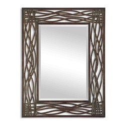 Uttermost - Dorigrass Brown Metal Mirror - Distressed metal is hand forged for a framed mirror that looks at once organic and thoroughly modern. Hang it either vertically or horizontally for even more versatility.