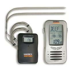 "Maverick - Maverick Remote-Check Jumbo 2 Probe - Maverick RemoteChek Jumbo, 2 Probe ""Model ET-7 is our largest receiver unit, allowing the user to monitor two different foods at one time, for example, chicken and beef, and each food can have its own temperature taste setting. Transmitter & 2 probes included. Display features: Meats (choose from six: beef, turkey, pork, veal, lamb, or chicken) Taste or doneness (rare, medium, medium well, well done) as appropriate for each meat, or choose your own target Set temperature up to 410 F (210 C), and in your choice of F or C Actual internal food temperatures for one or two different foods Elapsed cooking timer (alternates digits with meat by pressing the MODE button) Transmitter features: A display of actual internal food temperature, and a red LED indicating transmissions (which occur whenever temperature changes by degree).The probes are Stainless Steel, with flexible braid Stainless Steel sheathed connecting wire, 40 overall length.Transmitter measures 3 x 2 3/8 x , weighs 2.8 oz., and includes 2 AA batteries. Signal is sent on 433.92 MhZ. Receiver measures 5 5/8 x 3 x 1.1, weighs 6.8 oz., and includes 2 AA batteries."