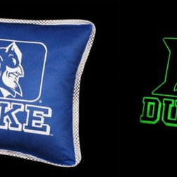 Sports Coverage - NCAA Duke Blue Devils Sidelines Toss Glow Pillow - NCAA Duke Blue Devils Sidelines Toss Glow Pillow will add an elegant touch of color to your bedding! Show your collegiate spirit with this officially licensed Toss Glow Pillow from Sports Coverage.  Features:  -  Pillow Size: 17 x 17,   - 100% Polyester Cover and Fill,   - Sidelines is trimmed in teams secondary color,   - 100% Includes glow in the dark logo,   - Polyester Jersey,   -  Spot Clean only ,