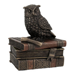 Bronzed Finish Wise Old Owl Trinket Box - This beautiful trinket/jewelry box, of a wise old owl perched upon books, features a wonderful metallic bronze finish, and has hand painted accents. Measuring 4 1/2 inches tall, 4 inches wide, and 3 1/2 inches deep, it is highly detailed, down to the inscription on the parchment the owl is perched upon. The top lifts off to reveal a storage area 1 inch high, 2 5/8 inches deep, and 1 3/4 inches deep (front to back). It's made of cold cast resin.
