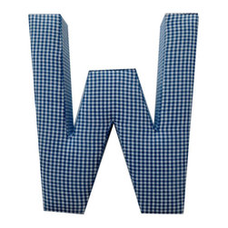 Fabric Wall Letters - Blue Gingham - All Uppercase Letters Available, Letter W - Choose our Blue Gingham fabric letters to create your own unique wall art or personalise your little child's bedroom or baby nursery.