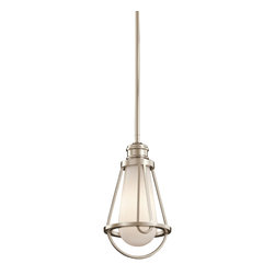 Kichler 1-Light Mini Pendant - Polished Nickel - One Light Mini Pendant. Industrial lighting takes on a whole new look. This saddler transitional mini pendant light is one of a kind it features a unique cased opal glass that is enclosed by a cage design finished in polished nickel. This pendant will add a unique element to your decor while providing a brilliant illumination.