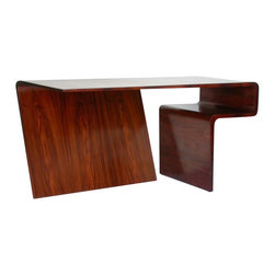 EcoFirstArt - Waterfall Desk - Here's a desk that broke the mold – literally. Expertly designed, it takes four molds for the inner and outer veneers to be structurally stable. Smooth, waterfall edges make it the perfect fit for your contemporary office.