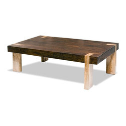 "Kathy Kuo Home - Ibiza Solid Wood Chunky Rustic Contemporary Rectangle Coffee Table - ""Constructed out of solid tropical hard wood, hand finished in a deep walnut finish, this contemporary rustic inspired cocktail table blends just enough rustic qualities with a modern twist."