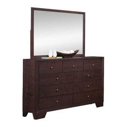 Homelegance - Homelegance Kari 9-Drawer Dresser with Mirror in Warm Brown Cherry - Complimenting the clean design of your home is the Kari collection. Straight lines dominate the design of this transitional suite. The headboard features distinct framing that is carried throughout the design of the case pieces-each accented with subtle knob hardware. The warm brown cherry finish compliments a number of design schemes allowing for flexible placement in any of your home's bedrooms.