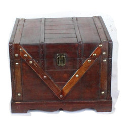 "Quickway Imports - Wooden Treasure Box, Old Style Treasure Chest - Approx. Dimension: 12.3"" x 10.5"" x 8.8"""