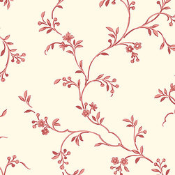 Floral Vine in Red and Cream - AB27625 - Collection:Abby Rose 2