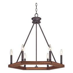 "Quoizel - Rustic - Lodge Quoizel Plantation 6-Light Dark Bronze Chandelier - A wood frame is supports six candelabra bulbs giving this chandelier a warm rustic look. A dark bronze finish complements this handsome design that is perfect for foyers and dining areas. From the Quoizel Plantation collection. Wood frame. Dark bronze finish. Six maximum 60 watt or equivalent candelabra bulbs (not included). 26"" high. 25"" wide.   Wood frame.  Dark bronze finish.  Design by Quoizel lighting.  Six maximum 60 watt or equivalent candelabra bulbs (not included).  26"" high.  25"" wide."