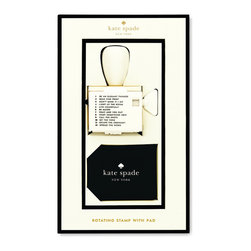 Kate Spade - kate spade Stamp & Pad Set - Personalize your notes with this unique rotating stamp & pad by kate spade new york! Stamp is constructed of a wooden knob featuring a gold spade accent and uses a patterned stamp pad with blank ink to create prints.