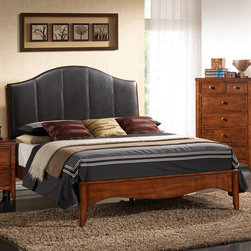 "New Spec - Auckland Queen Panel Bed - Features: -Queen size.-Vinyl headboard.-Rubberwood frame.-Auckland collection.-Distressed: No.-Collection: Auckland.-Solid Wood Construction: Yes.-Box Spring Required: Yes -Boxspring Included: No..-Footboard Storage: No.Dimensions: -Overall Product Weight: 100 lbs.-Overall Height - Top to Bottom: 56"".-Overall Width - Side to Side: 63"".-Overall Depth - Front to Back: 90"".-Headboard Dimensions Height: 56"".-Headboard Width Side to Side: 63"".-Headboard Depth Front to Back: 4"".-Footboard Height: 16"".-Footboard Width - Side to Side: 63"".-Footboard Depth - Front to Back: 3""."