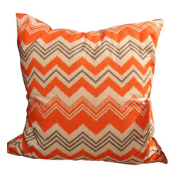 Artistic Sensations - Euro Gray and Orange Chevron Pillow - This pillow is part of our gorgeous orange, gray and chevron print bedding collection, which is made in beautiful fabrics of cottons and linens. Featuring fabrics with oranges, grays and chevron accents, this euro sham will brighten up your teenager's room.