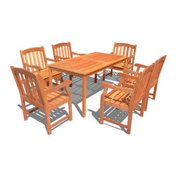 Vifah - Vifah Balthazar Dining Set with 6 Ward Armchairs - Vifah - Patio Dining Sets - V98SET29 - Enjoy sunny days outside with this Balthazar Rectangular Dining Table Set! Dress up your patio with this inviting set featuring a large rectangular table and 6 Ward Armchairs. With a flat rectangular top, this table is versatile and convenient as well as beautiful. The large table can easily accommodate up to 6 people, making it the center of attention at outdoor barbeques, parties, and family or friend gatherings. The table features an umbrella hole in the middle, allowing an umbrella to be secure while shading from the hot sun or gentle summer rain. The Vifah Ward chair is beautifully constructed and durable and is slatted to allow for rain water run through. For added comfort, the chair is contoured and has rounded armrest and a straight back. The finest materials bring exceptional durability and quality to this patio furniture set. The chairs are beautifully constructed and strong, letting you spend your lazy days relaxing and enjoying food and drinks outside. Featuring beautiful FSC high density eucalyptus (Shorea) construction, this set boasts a comfortable design that can be enjoyed for years to come.