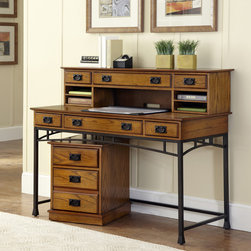 None - Modern Craftsman Executive Desk,Hutch/ Mobile File - Keep all your office essentials organized within this beautiful mobile file. The distressed oak finish adds a noticeable warmth,while the brown metal handles give visual contrast plus durability that'll let you keep enjoying this piece for years.