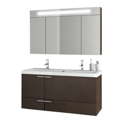 ACF - 47 Inch Wenge Bathroom Vanity Set - If your bathroom is in need of a bathroom vanity, why not consider this high-end bath vanity from the ACF New Space collection? Perfect for more contemporary & modern settings, this high quality bath vanity is wall-mount and coated in wenge.
