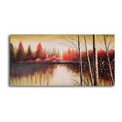 "My Art Outlet - Hand Painted ""Tranquil lake at dusk"" Oil Painting - Size: 20"" x 40"" (20"" x 40""). Enjoy a 100% Hand Painted Wall Art made with oil paints on canvas stretched over a 1"" thick wooden frame. The painting is gallery wrapped and ready to hang out of the box. A very stylish addition to any room that is sure to get the attention of guests."
