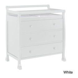DaVinci - DaVinci Kalani 3-drawer Changer Dresser - Beautiful gentle curves and detailed feet bring a quiet,subtle elegance to your nursery. The top station of this dresser-changer combo offers a safe,convenient space for changings,while the three drawers offer generous storage for baby supplies.