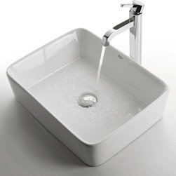 "Kraus C-KCV-121-1007 White Rectangular Ceramic Sink and Ramus Faucet - APPLY COUPON CODE ""EDHOUZ20"" AT CHECKOUT. JUST OUR WAY OF SAYING THANKS."