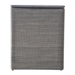 Lamont Home - Cambria Upright Hamper Silver/Black - Made from high quality PVC/Polyester fabric, these traditional styles have been updated in a wide range of patterns to match any decor. A vinyl lid with metal grommet completes the look for the hamper. A very durable product that adds style to any laundry room.