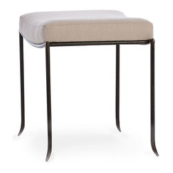 Mosquito Small Bench - A distinctive bench certain to create a buzz when placed among the appointments of your transitional decor. The form of the Mosquito Small Bench is inspired by the elongated, slender silhouette of a mosquito's leg. Richly colored natural iron legs contrast with the soft coloration  of the natural linen seat. The bench is perfectly sized for placement within a bathroom, a bedroom, or a foyer that invites guests to be seated while they remove their hat and coat.