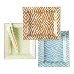 Zebra Trays, Blue/Green