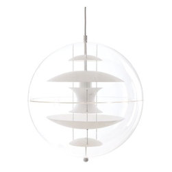 Verpan - VP Globe with Glass Diffusers - Over the course of his career, Verner Panton introduced a series of modern lamps unlike any of his Scandinavian contemporaries. Many of his designs fused organic shapes with future-forward materials, like the lightweight Globe Pendant (1969/2009). The transparent acrylic sphere surrounds five internal white or colored plates, which reflect and diffuse light. Bulb (not included): incandescent clear, small: 110V/E14/E12/40W; Large: 110V/E27/E26/75W. Made in Denmark.