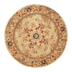 Safavieh - Safavieh Anatolia Traditional Round Rug in Ivory, Beige, 6'x6' - Anatolia Collection Brings Old World Sophistication and Quality in New Tufted Rugs. This Collection Captures the Authentic Look and Feel of the Decorative Rugs Made in the Late 19Th Century in This Region. Hand Spun Wool and an Ancient Pot Dying Technique Together with a Densely Woven Thick Pile, Gives Anatolia Rugs Their Authentic Finish. What's included: Area Rug (1).