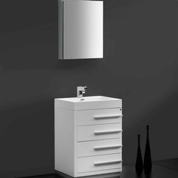 "Fresca - Fresca Livello 24"" White Modern Bathroom Vanity W /Faucet & Medicine Cabinet - At a width of 23.38"" and a height of 33.35"", the Fresca Livello bathroom vanity is perfect for smaller spaces. With a minimalistic and contemporary design, this vanity will make your bathroom feel like a modern oasis. Complete with four, slow closing 18.63"" deep pull out drawers the Fresca Livello bathroom vanity offers ample storage for all of your washroom necessities. The19.5"" wide x 26"" high x 5"" deep medicine cabinet provides additional storage while enhancing the aesthetics offered by this contemporary vanity. The Fresca Livello comes with a durable acrylic sink that is less likely to break then traditional ceramic options. These bathroom sinks also clean better, making them ideal for homes with smaller children.Items included: Vanity, Medicine Cabinet, Sink, Faucet, P-Trap and Pop-Up Drain, Standard hardware needed for installation.DecorPlanet is proud to offer Fresca Bathroom products. Fresca is a leading manufacturer of high-quality vanities, accessories, toilets, faucets, and everything else to give you the freshest bathroom in the neighborhood. Fresca is known for carrying the latest and most popular styles in modern and contemporary bathroom design that are made with high quality materials and superior workmanship."