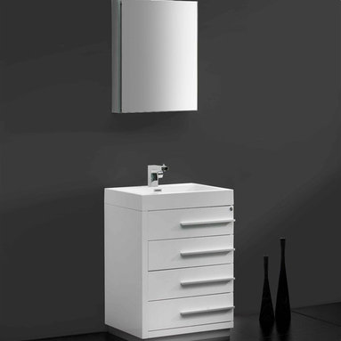 "Fresca - Fresca Livello 24"" White Modern Bathroom Vanity W /Faucet & Medicine Cabinet - At a width of 23.38"" and a height of 33.35"", the Fresca Livello bathroom vanity is perfect for smaller spaces. With a minimalistic and contemporary design, this vanity will make your bathroom feel like a modern oasis."