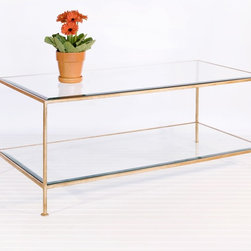 Worlds Away - Worlds Away Taylor Rectangular Coffee Table in Gold Leaf - Hammered gold leaf with beveled glass shelves.