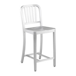 """Eurø Style - Cafe Matte Aluminum Adjustable Counter Stool - Both stylish and versatile, the Cafe Matte Aluminum Adjustable Counter Stool - Eurø Style is constructed of lacquered aluminum with a brushed finish that will look great in any decor! The frame is made from sturdy but lightweight aluminum and has a 30"""" seat height."""