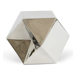 Kathy Kuo Home - Quarry Industrial Loft Silver Sculpture - Small in stature but big on style, this silver geometric sculpture adds polish wherever it is placed. The multi-faceted shape shimmers in the light, creating fascinating shadows. Color and material add Industrial Loft and Modern elements to this posh piece.