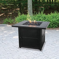 UniFlame Ceramic Tile Propane Fire Pit - Slate - Gather friends and family 'round the UniFlame Ceramic Tile Propane Fire Pit - Slate for a warming experience. This fire pit has a contemporary style brought to life with its ceramic tiles in a dark slate finish. Not only does it assemble in a snap, but also lights easily with its electronic ignition.About Blue Rhino/Uniflame/Endless Summer: Blue Rhino Global Sourcing, Inc. is America's #1 propane tank exchange brand, but it doesn't stop there. Blue Rhino is a leading designer and marketer of outdoor appliances and fireplace furnishings. These products include barbecue grills, outdoor heaters, outdoor fireplaces, mosquito traps, and fireplace furnishings. You'll find a Blue Rhino product in the middle of half a billion barbecue events nationwide every year. They come under various brand names, including UniFlame, Endless Summer, and SkeeterVac.
