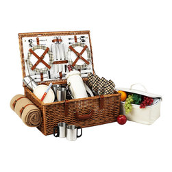"Picnic At Ascot - Dorset Basket for Four with Coffee Set and Blanket, Wicker W/London - The Dorset English style picnic basket for four is made to last with quality construction and stylish details. Beautifully hand crafted using full reed willow, each basket includes ceramic plates, glass wine glasses, and the highest quality accessories.  Includes: (4) ceramic plates, glass wine glasses, stainless flatware, cotton napkins, double walled insulated stainless steel coffee cups, (1) food cooler, insulated wine pouch, hardwood cutting board, spill proof salt & pepper shakers, wood handle cheese knife, stainless waiters corkscrew, 50"" x 60"" acrylic blanket, and 24oz stainless steel vacuum flask. Natural Willow with leather handle, closures, hinge covers. Lifetime Warranty."