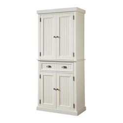 Home Styles - Home Styles Nantucket Pantry in Distressed White Finish - Home Styles - Pantry - 502269 - The Home Styles Nantucket Pantry is constructed of hardwood solids and engineered wood in a sanded and distressed white finish providing an aged worn look. Features include storage drawer, two cabinet doors each containing two adjustable shelves, and antique brushed nickel hardware.