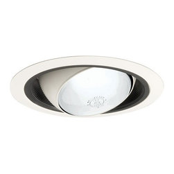 Juno Lighting Group - Economy Eyeball Black Trim for 6-Inch Recessed Housing - 249B-WH - This 6-inch eyeball is perfect for highlighting art on a wall or wall washing and is fully adjustable. The outer white ring has a gradual slope, allowing it to fit flush with the ceiling via the included spring clips. Damp location rated.