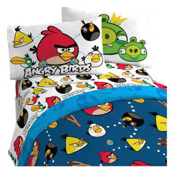 Jay Franco and Sons - Angry Birds Stop Madness 3 Pieces Twin-Single Bed Sheet Set - Features: