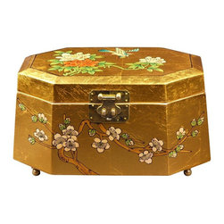 Oriental Furniture - Antoinette Jewelry Box - Gold - This exquisite jewelry box was hand-crafted by artisans in the Guangdong province of mainland China. Employing classic Chinese lacquering techniques, it has a rich, medium gloss finish. The inner compartment is lined with fine red felt and has a removable felt ring tray for extra storage options. Beautiful and exotic, it makes the perfect gift for yourself or a loved one.