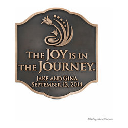 """Joy Personalized Wedding Plaque 11.25"""" x 12.75"""" in Bronze Patina - Our Personalized Wedding Plaque is sure to be one of the best remembered wedding gifts that a young couple can receive. With a plaque like this, their very special day will always be commemorated. Remember, this is a personalized wedding plaque, so you can customize it to say anything that you want. Joy, happiness, and love are all favorites. You've been married for 10, 15, 20 years? That's also ok! You can commemorate the anniversary of your wedding with this plaque as well. Any date, and name, any numbers: if you want to commemorate your special day, then we will make the sign to do it. The flower design is the only thing that doesn't change. You decide what it says."""
