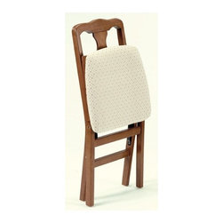 Stakmore - Queen Anne Side Chair (Set of 2) - Add extra seating to your traditional dining room set with these classic queen Anne wood folding chairs. Constructed of solid hardwoods with a steel folding mechanism these chairs fold to 7.25'' deep for convenient storage. Features: -Set of 2 only.-Steel folding mechanism.-Upholstered seat.-Premium solid wood construction.-Distressed: No.-Hardware Finish: Black powder coat folding mechanism.-Powder Coated Finish: No.-Gloss Finish: Yes.-Frame Material: Rubber wood.-Hardware Material: Steel screws and folding mechanism.-Solid Wood Construction: Yes.-Number of Items Included: 2 chairs per box.-Non-Toxic: Yes.-Rust Resistant: Yes.-Arms Included: No.-Upholstered Seat: Yes -Seat Upholstery Material: Polyester.-Seat Upholstery Color: Neutral light beige with burgundy dots in center.-Removable Seat Cushions: No.-Seat Cushion Fill Material: Polyurethane.-Removable Seat Cushion Cover: No.-Tufted Seat Upholstery: No.-Welt on Seat Cushions: No..-Upholstered Back: No.-Nailhead Trim: No.-Swivel: No.-Foldable: Yes.-Stackable: No.-Number of Legs: 4.-Leg Material: Rubber wood.-Casters: No.-Protective Floor Glides: Yes.-Adjustable Height: No.-Saddle Seat: No.-Outdoor Use: No.-Weight Capacity: 225.-Swatch Available: No.-Commercial Use: No.-Recycled Content: No.-Eco-Friendly: Yes.Specifications: -FSC Certified: No.-ISTA 3A Certified: Yes.-General Conformity Certificate: Yes.-Green Guard Certified: No.-ISO 14000 Certified: No.-ANSI BIFMA Certified: No.Dimensions: -Folds to 7.25'' Deep for storage.-Seat Height: 18.75''.-Overall Dimensions: 35.5'' H x 16.75'' W x 7.25 - 19.25'' D.-Overall Product Weight: 15.-Overall Height - Top to Bottom: 35.5.-Overall Width - Side to Side: 17.-Overall Depth - Front to Back: 19.5.-Seat Height: 19.25.-Seat Width - Side to Side: 17.-Seat Depth - Front to Back: 16.-Arms : No.Assembly: -Assembly Required: No.-Additional Parts Required: No.Warranty: -Product Warranty: 5 Year warranty subject to normal use..