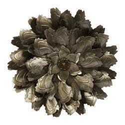 Metal Wall Flower Decor - *Cut and pressed metal to resemble the petals of a flower, this Round Wall Piece will make a statement in any room.