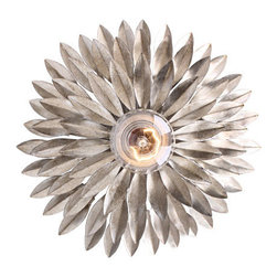 Crystorama - Crystorama 500-SA Broche 1 Light Wall Sconces in Antique Silver - From the French brooch, the Broche collection lights up a room with tailored elegance. The simple wrought iron leaves on each light are hand painted in one of two metallic finishes - burnished antique gold or English bronze. There's also a two-tone sphere option that embraces one of fashion's hottest trends - mixing metals.