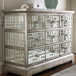 "John-Richard Collection - ""Gatsby"" Mirrored Chest  - Truly beautiful, this amazing five-drawer chest is covered with 240 individually beveled mirrors in a basket-weave pattern. The chest is finished with a distressed silver-gilt finish.Three small drawers across top row are 15""W x 8""T. Fourth and fifth drawers are 48""W x 8""T.Dimensions:  54""W x 20""D x 39""T."