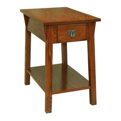 Leick Furniture - Favorite Finds Mission Chairside Table - 1 Bottom shelf. 1 Drawer. Blackened, metal ware pull. Durable wood drawer box and guide. Canted post with wedge corbel. Narrow shape is ideal next to recliners. Solid Ash and Oak veneers. 24 in. W x 15 in. D x 24 in. H