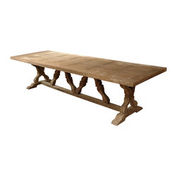 Kathy Kuo Home - Linley Heavy Distress Farm House 14 Person Trestle Dining Table - With a table this large, you can invite the whole crew for Sunday dinner. Crafted from reclaimed wood, this rustic charmer features an attractive decorative base. It'll create such a relaxing atmosphere your guests will never want to leave.
