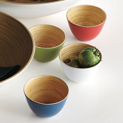 Bamboo Bowls - Bold, bright Bamboo Bowls with a lacquer exterior serve up your favorite snacks in a mini, go-anywhere size. Perfect for everything from olives to nuts.